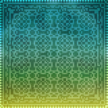 Pixel Pattern Teal/Yellow Art Print by Likelikes