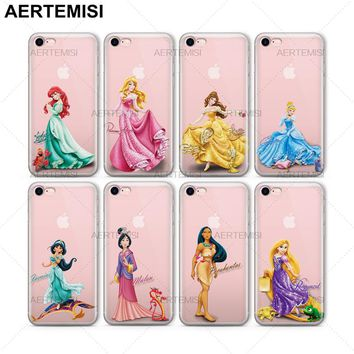 Aertemisi Phone Cases Ariel Aurora Belle Cinderella Jasmine Mulan Clear TPU Case Cover for iPhone 5 5s SE 6 6s 7 8 Plus X