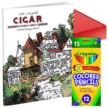 Art of the Cigar Vintage Coloring Book for Adults Gift Set with 12 Crayola Coloring Pencils in Assorted Colors and Gift Box