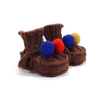 Knitted Baby Booties - Brown,Blue and Red, 0 - 3 months