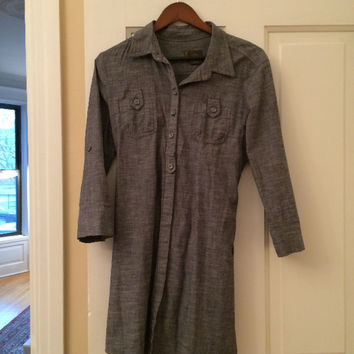 Cotton Chambray Like Tunic/Dress With Tie Belt (Small/Indie Brands)
