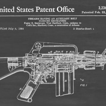 Colt 1911 Firearm Patent - Patent Print, Wall Decor, Gun Art, Firearm Art