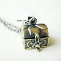 Treasure Box Antique Brass Vintage Secret Locket | LittleApples - Jewelry on ArtFire