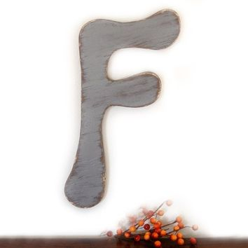 SALE - decorative wood letter F wood sign cottage style SLATE GRAY