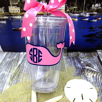 Vineyard Vines inspired monogrammed tumbler with straw