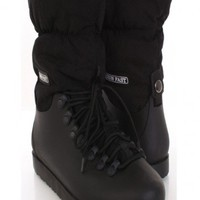Black Puffy Nylon Plastic Lace Up High Ankle Snow Boots