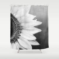 B&W Sunflower Shower Curtain by Viviana Gonzalez