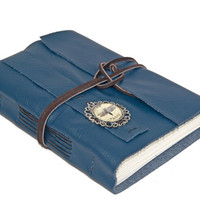 Navy Blue Leather Journal with Cameo Bookmark - Ready To Ship -