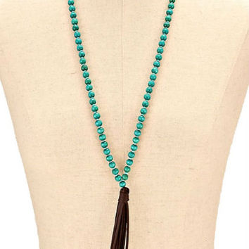 Gold & Turquoise Suede Leather Tassel Drop Wood Bead Strand Long Necklace