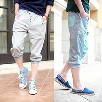 Two Tone Drawstring Cropped Sweat Jogger Pants