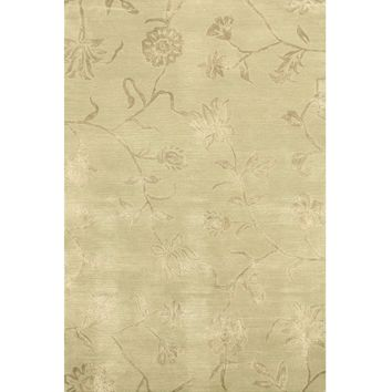 EORC Hand-tufted Wool & Viscose Green Transitional Floral Beatrice Rug