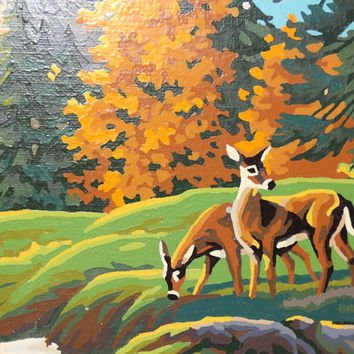 Vintage 1960's Paint by Number, Rolling Hills, Mountains, Deer, Doe, Bambi, Fall Leaves, Pine Trees