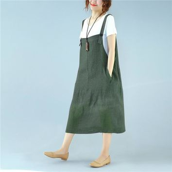 New Summer ZANZEA Women Sleeveless Loose Solid Pockets Cotton Linen Party Suspense Casual Strappy Overall Dress Midi Vestido