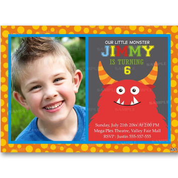 Monster Polka Dot Kid Birthday Invitation Party Design