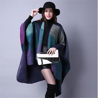 Women Blanket Lady Knit Shawl Cape Cashmere Classic Patchwork Plaid Style Warm Scarf
