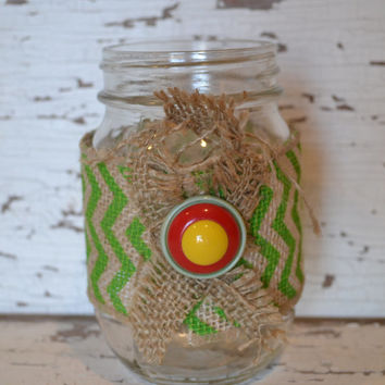 Mason Jar Upcycled chevron green red buttons burlap decor bathroom decor office pencil holder unique gift