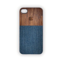iPhone Case, 5, 4S/4, Faux Denim Wood Case, Protective, Rustic, Woodland, Outdoors, Men, Blue Jeans, Apple, Country