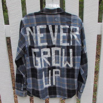 "Unisex Size Medium Hand Painted ""Never Grow Up"" Vintage Flannel"