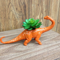 Up-cycled Glittery Orange Apatosaurus Dinosaur Planter