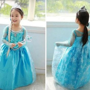 Kids Girls Movie Costume Princess Fairy Cosplay Party Dress Crown 5 Size Gift