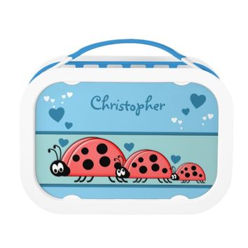 Cute ladybirds Blue Lunch Box