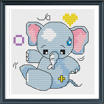 Baby Elephant Cross Stitch Pattern, Modern