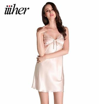 iiiher Sexy Women Night Dress Mini Nightgowns V Straps Lace Sleepwear Women Summe Sheer Chemises Nightwear Chemise De Nuit Femme