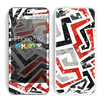 The Red-Gray-Black Abstract V3 Pattern Skin for the Apple iPhone 5c