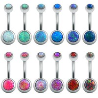 PEAPONRZ Fire Opal Jewelry Belly Button Rings Surgical Steel Bars Real Belly Rings Body Piercing Belly Navel Ring Piercing Sexy Silver