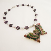 Amethyst and Silver Colour Pearls Necklace, Glass Butterfly Pendant