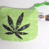 Pot Leaf Keychain Coin purse - Cannabis hand stamped painted coin zip purse - One of a kind - Free Shipping