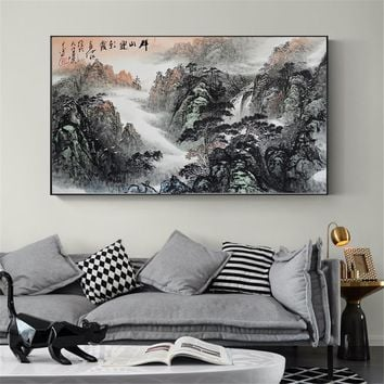 Wall Art Chinese Landscape painting Canvas Art Vintage Posters and Prints Home Decorative Wall Pictures for Living Room Cuadros