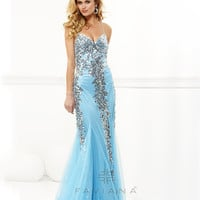 Faviana 2013 Prom - Tiffany Blue Sequin & Mesh Low Back Prom Gown - Unique Vintage - Prom dresses, retro dresses, retro swimsuits.