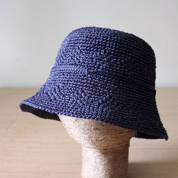 Womens raffia sun hat Blue bucket hat Packable Straw beach hat Ladies sun hats Medium Brim Crushable hats
