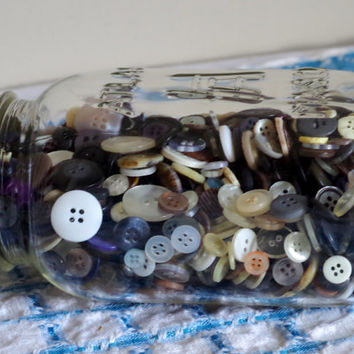 1930's Hazel Atlas Square Mason Jar Filled With Mystery Button Lot- 1 LB Vintage Buttons-  H Over A Quart Size Jar- Vintage Storage