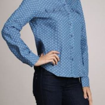 Favorite List Polka Dot Print Long Sleeve Chambray Shirt | Sincerely Sweet Boutique
