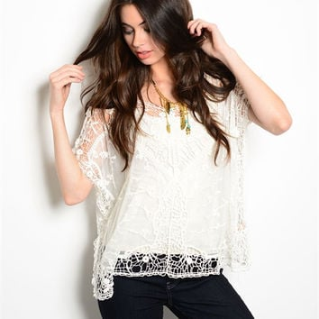White Lace Crochet Boho Top