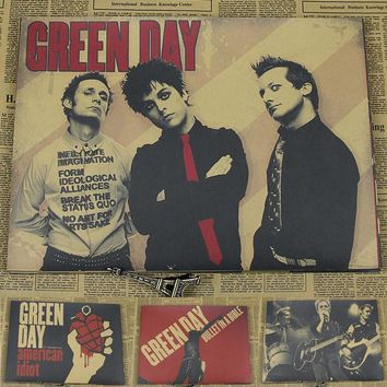 Day Green Kraft retro punk rock old poster European and American music team star POSTER VINTAGE