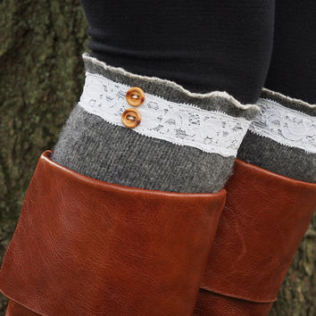 Boot Socks-Boot Cuffs-Lace Boot Socks-Gray Wool-Knee High Socks-Leg Warmers