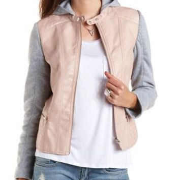Layered & Hooded Faux Leather Bomber Jacket - Blush Combo