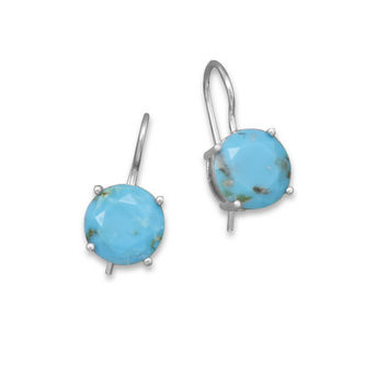 Rhodium Plated Turquoise Wire Earrings