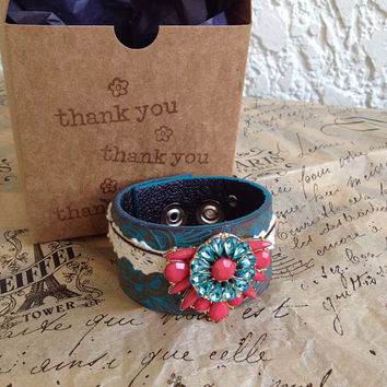Vintage Embossed Turquoise & Brown Leather and Lace Upcycled Belt Bracelet, pink and turquoise vintage brooch, adjustable CUSTOMIZABLE!