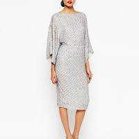 ASOS RED CARPET Sequin Grid Kimono Midi Dress