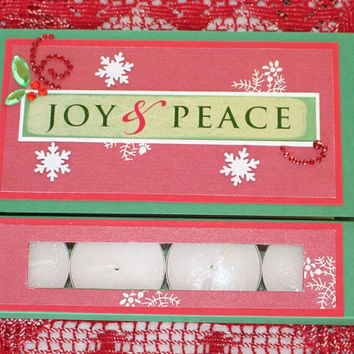 2 in 1 Christmas Greeting Card Joy and Peace Red and Green Christmas Greeting card Tealight candle card