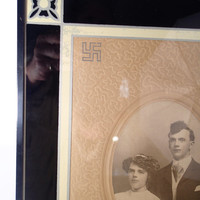 Art Deco Reverse Paint Picture Frame, Vintage wedding photo, Swastika Symbol of Good Luck and Good Fortune
