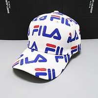FILA Newest Summer Women Men Print Sports cap Baseball Cap Hat White
