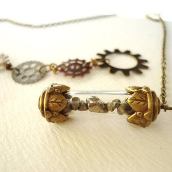 Steampunk Pyrite Filled Bronze Capsule & Gear Lariat Necklace