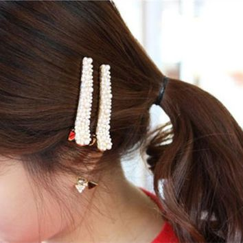 New fashion Rhinestone hairpin bangs alloy toothed fish head clip duckbill clip hair jewelry imitation pearl