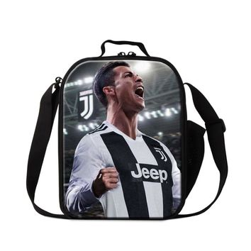 Cristiano Ronaldo Lunch Box Bag for Boys Small Insulated Cooler Bag Pattern Messenger Lunch Bag Soccers Food Bread Container Kid
