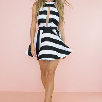 LANA STRIPED FIT-&-FLAIR DRESS